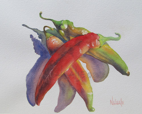 3 Chilies watercolor by Nathalie Kelley