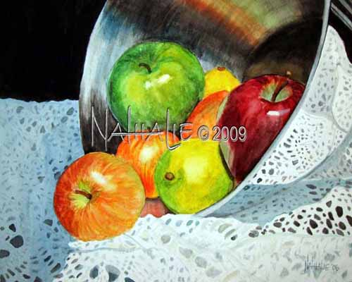 Apples, Chrome, and Chrochet Watercolor by Nathalie Kelley