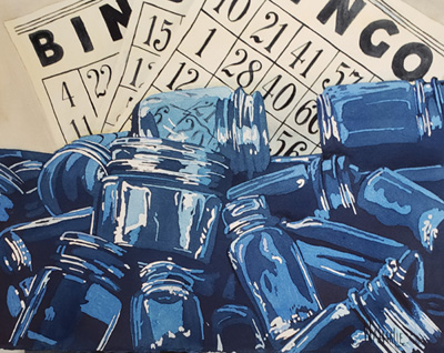 Blue Bottles and Bingo Poured Watercolor Nathalie Kelley