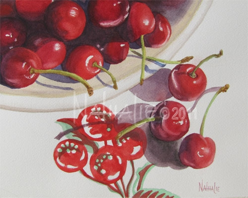 Cherries on Cherry Tablecloth Nathalie Kelley Watercolor