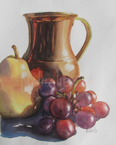 Copper, Grapes, and a Pear Nathalie Kelley Watercolor