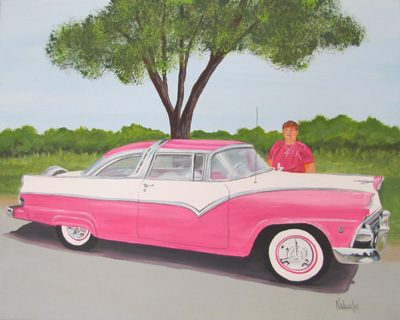 Glenda Botts 55 Crown Vic Acrylic on canvas