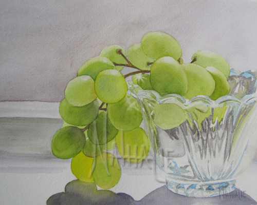 Green Grapes in a Small Glass Bowl watercolor by Nathalie Kelley