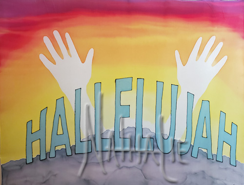 Hallelujah Hands Raised Hand Painted Silk Flag for Worship and Dance