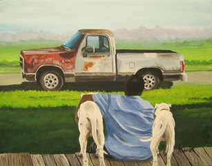 His Favorite Things - Rusty Truck and Dogs - Commission Private Collection by Nathalie Kelley