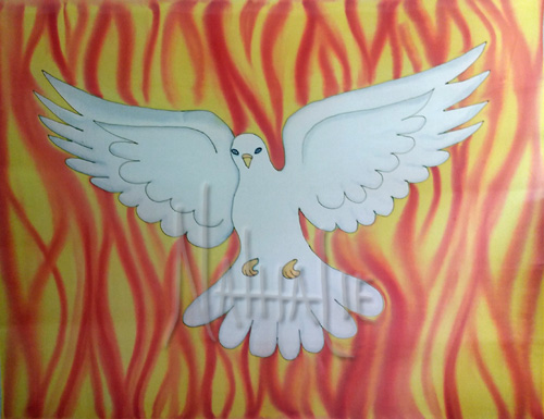 Holy Spirit and Fire Hand Painted Silk Flag for Worship and Dance