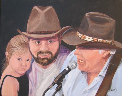 Jerry Jeff, Jango and Daughter - Commission by Nathalie Kelley