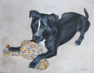 Nancy's Pup - Acrylic Pet portrait by Nathalie Kelley