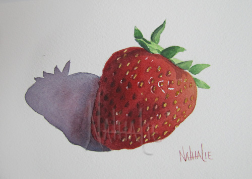 One Little Strawberry Watercolor by Nathalie Kelley