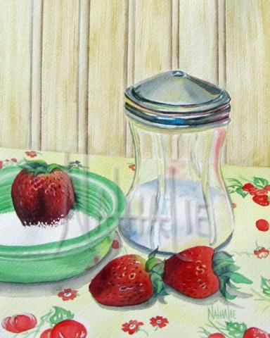 Strawberries and Vintage Sugar Shaker Watercolor By Nathalie Kelley