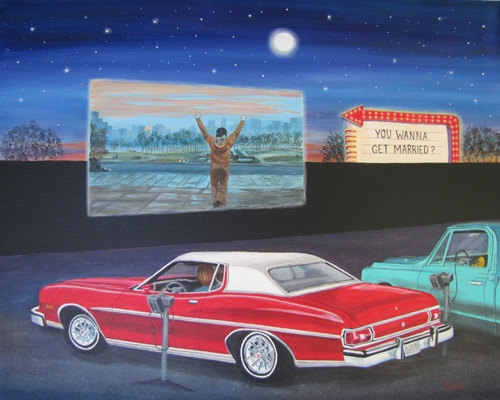 The Proposal - Old Car and Chevy truck at the Drive In Theatre Commission Private Collectionn