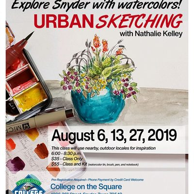 Urban Sketching Class at College on the Square Snyder Tx