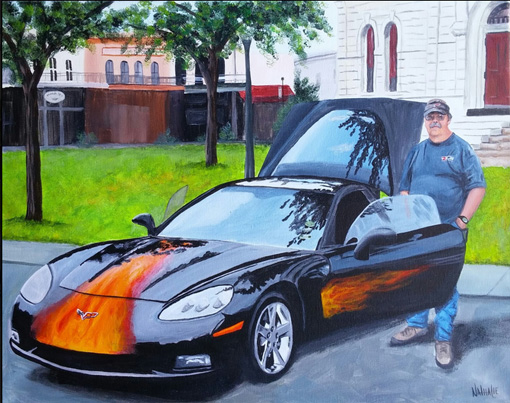 Wayne's Corvette - Acrylic on Canvas