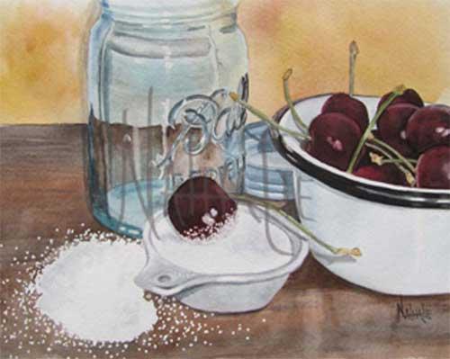 Cherries and Sugar Watercolor by Nathalie Kelley