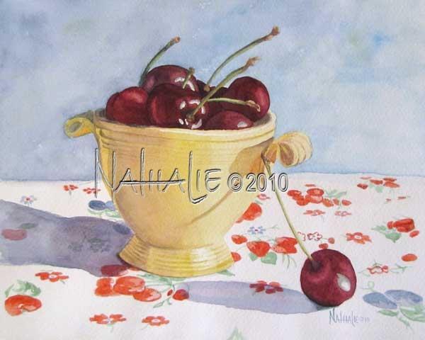 Cherries in a Vintage Yellow Sugar Bowl - Watercolor by Nathalie Kelley