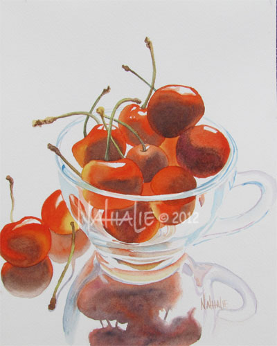 cherries in glass cup by Nathalie Kelley watercolor