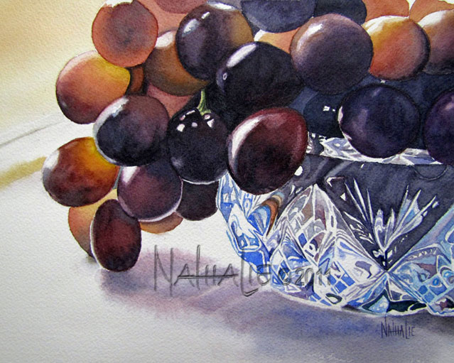 Grapes in a Crystal Bowl Watercolor by Nathalie Kelley