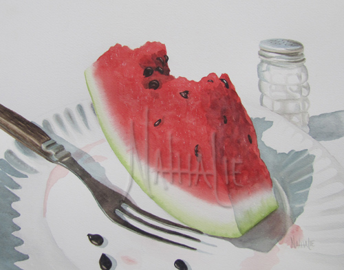 Who Needs a Fork - Watercolor by Nathalie Kelley