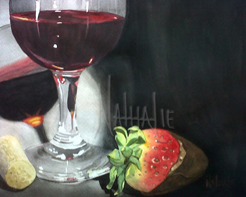 Wine and Strawberry Watercolor by Nathalie Kelley